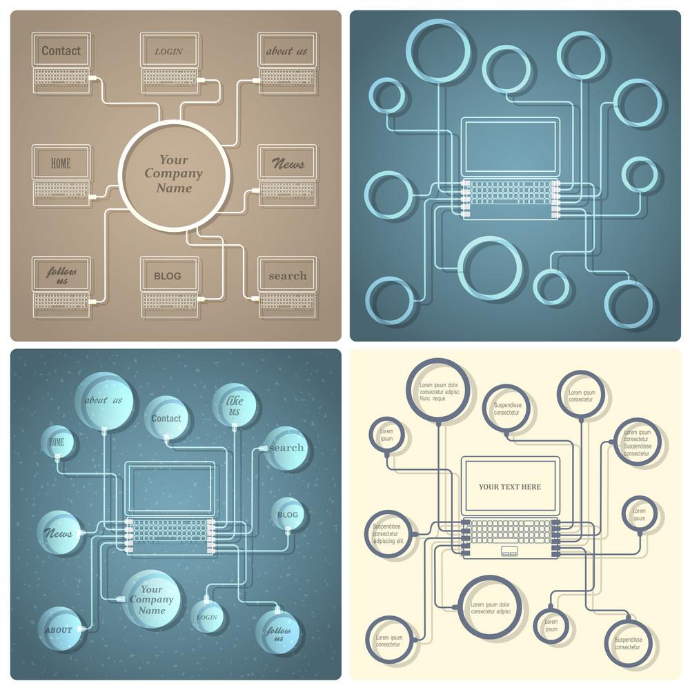 Set Of Vector Creative Web Design Templates