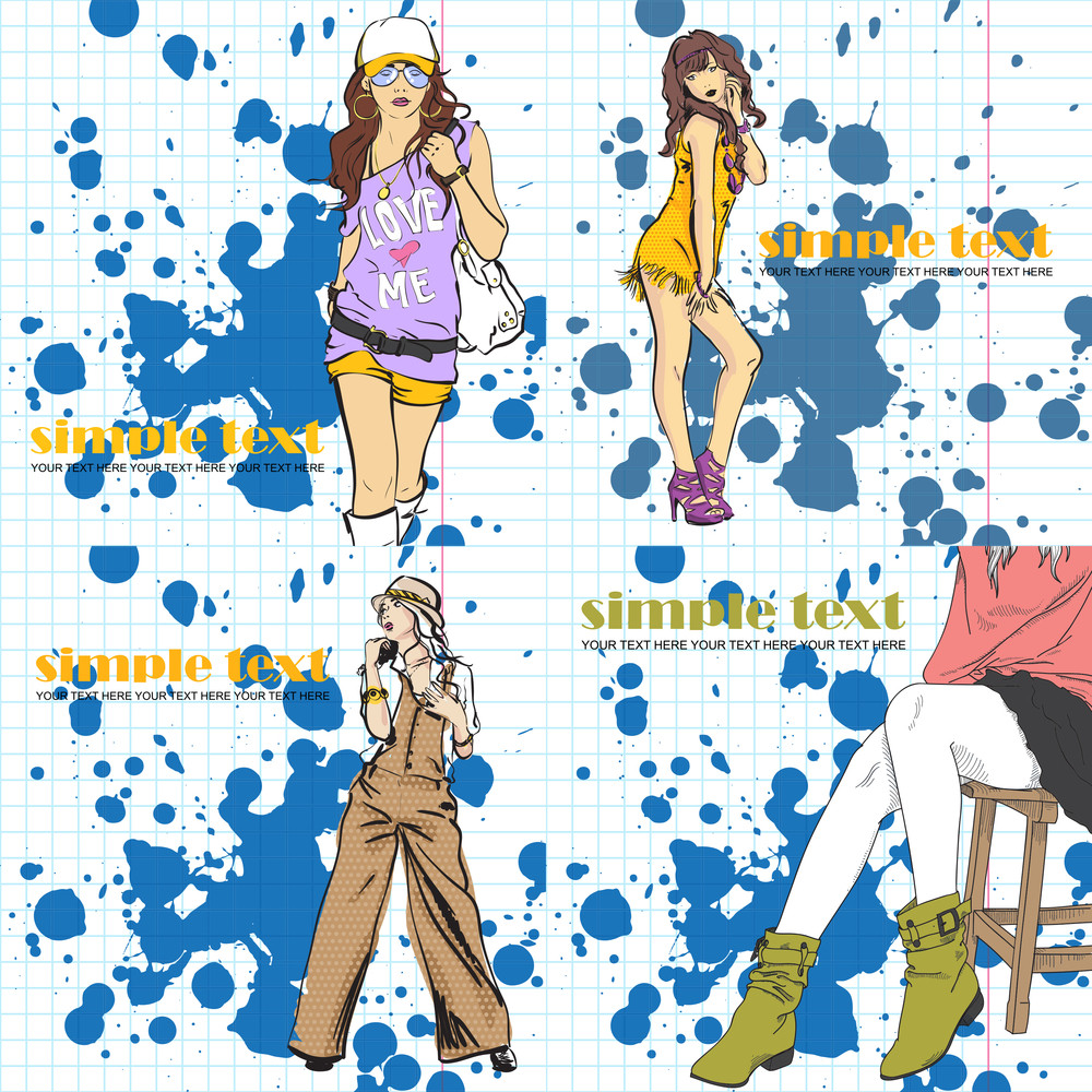 Set Of Vector Illustrations With Fashion Girl In Sketch-style On A Dirty Background.
