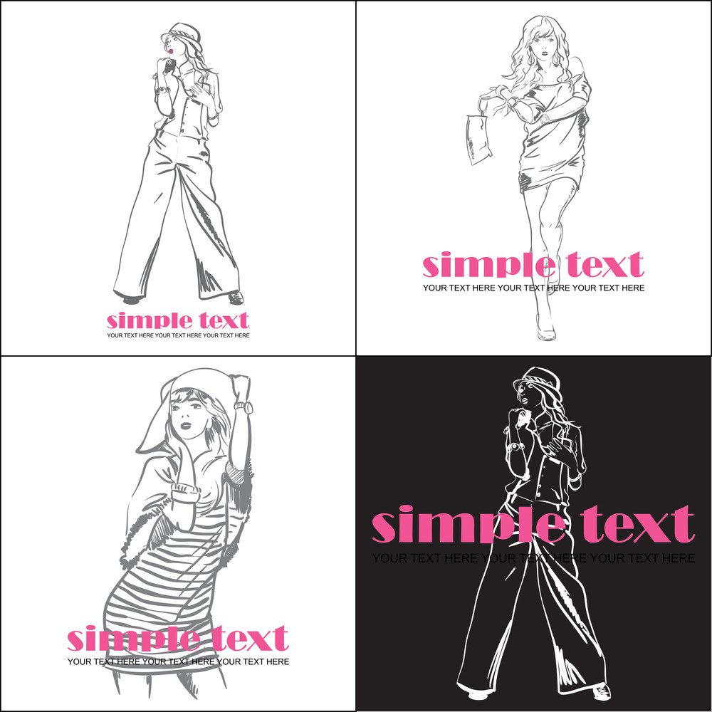 Set Of Vector Illustrations With Fashion Girl In Sketch-style