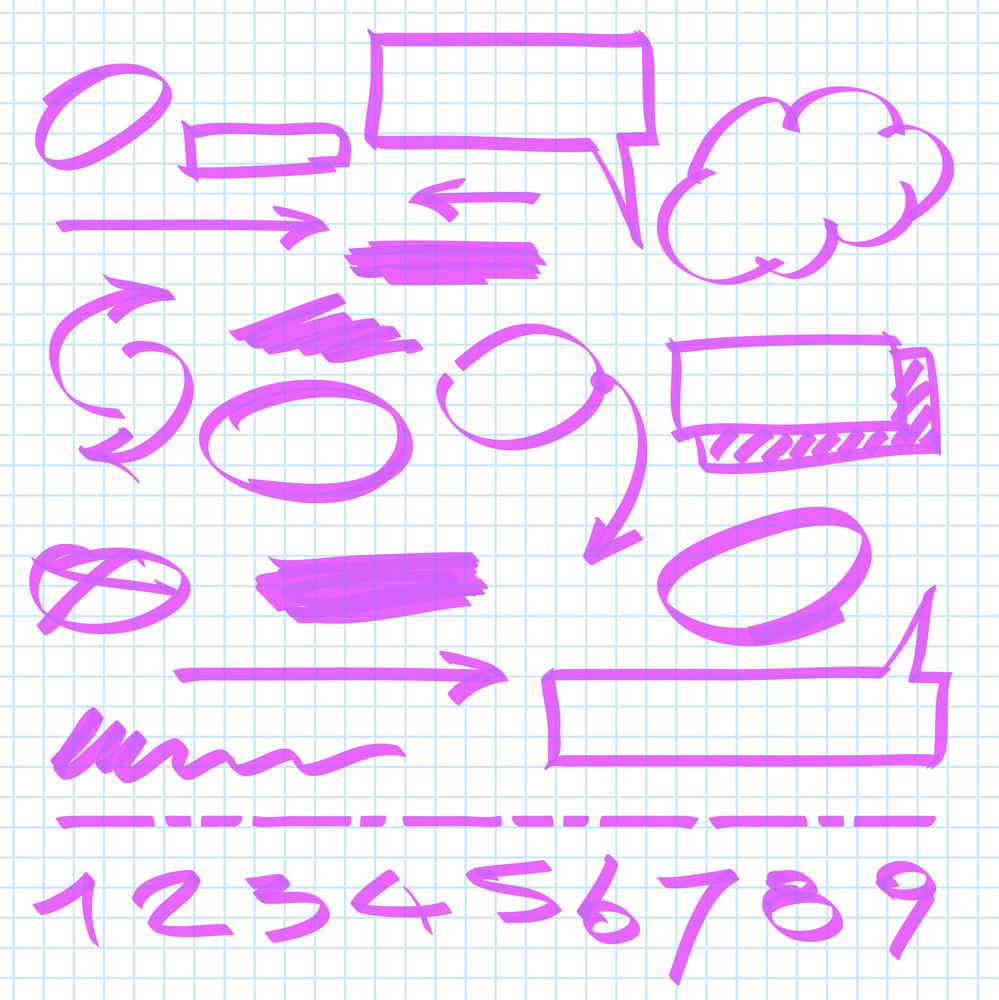 Set Of Vector Marker Design Elements.