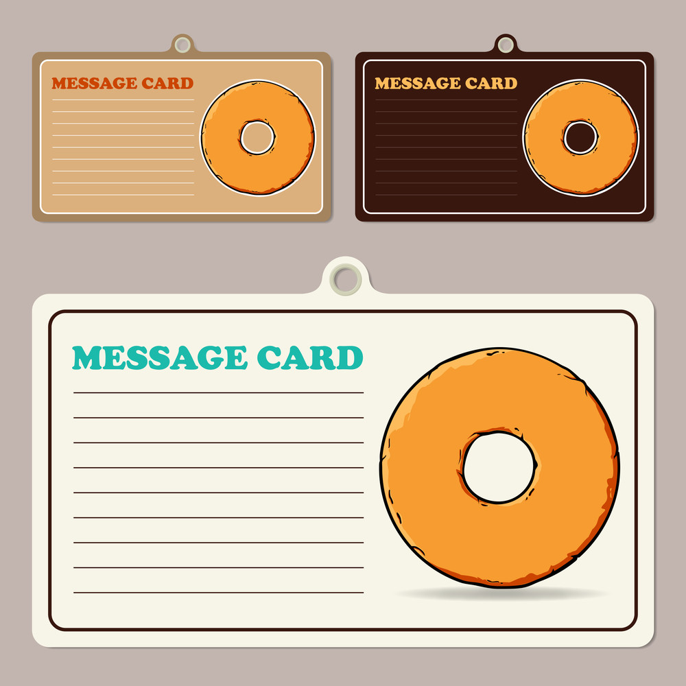 Set Of Vector Message Cards With Cartoon Donuts.
