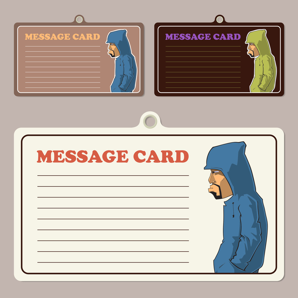 Set Of Vector Message Cards With Cartoon Graffity Character.