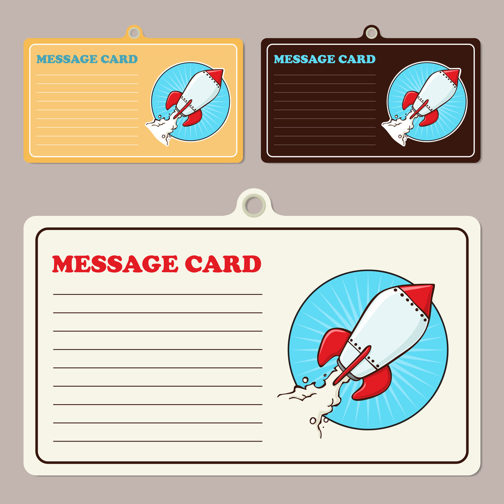 Set Of Vector Message Cards With Cartoon Rocket.