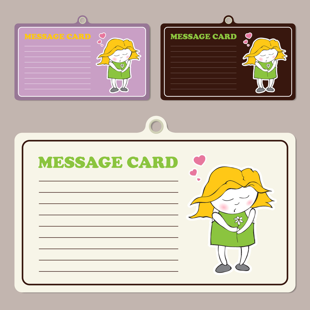 Set Of Vector Message Cards With Cartoon Sleeping Girl Character.