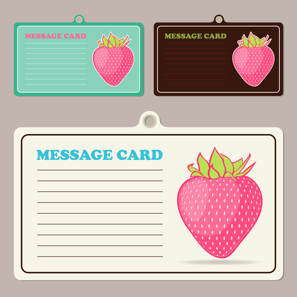 Set Of Vector Message Cards With Cartoon Strawberrie.