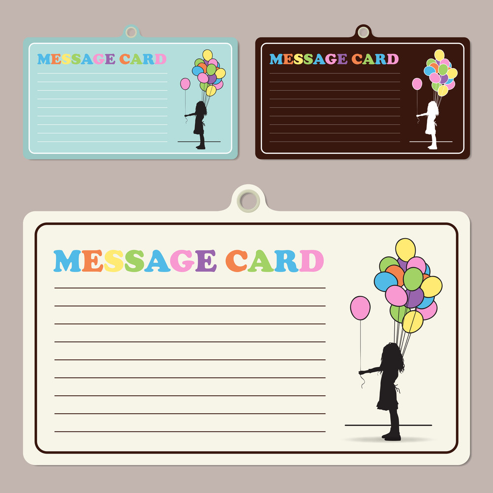 Set Of Vector Message Cards With Girl And Balloons.