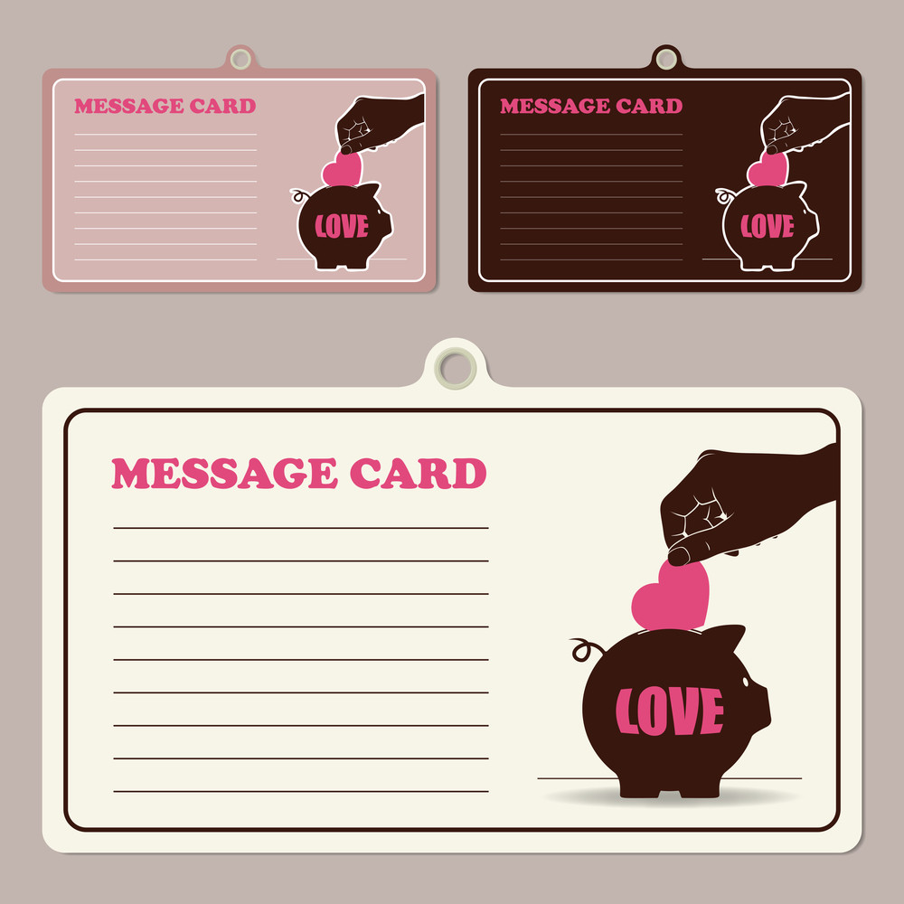 Set Of Vector Message Cards With Hand