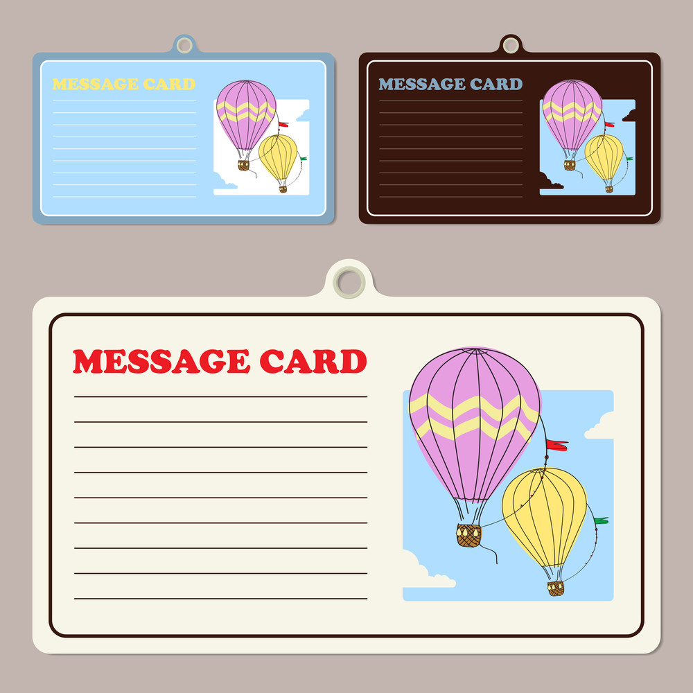 Set Of Vector Message Cards With Hot Air Balloon.