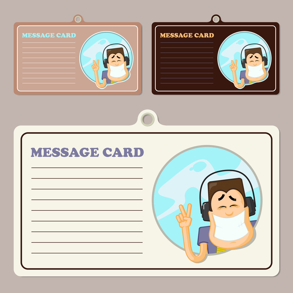Set Of Vector Message Cards With Smiling Character.