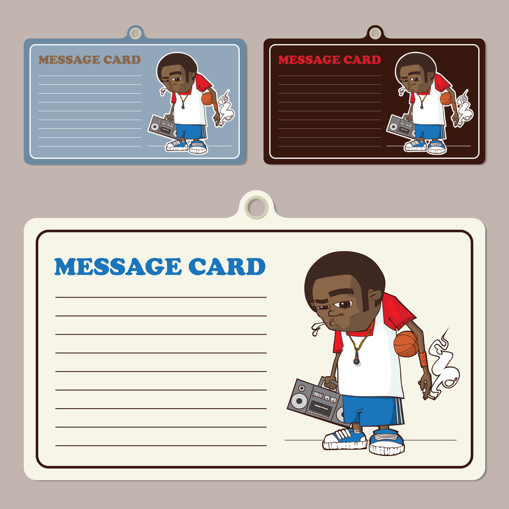 Set Of Vector Message Cards With Streetball Character.