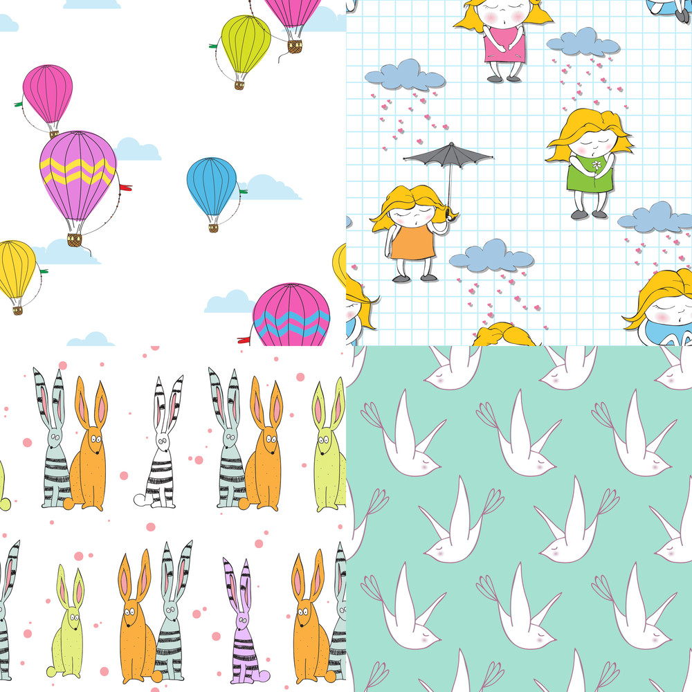 Set Of Vector Seamless Textures With Cute Cartoon Characters.