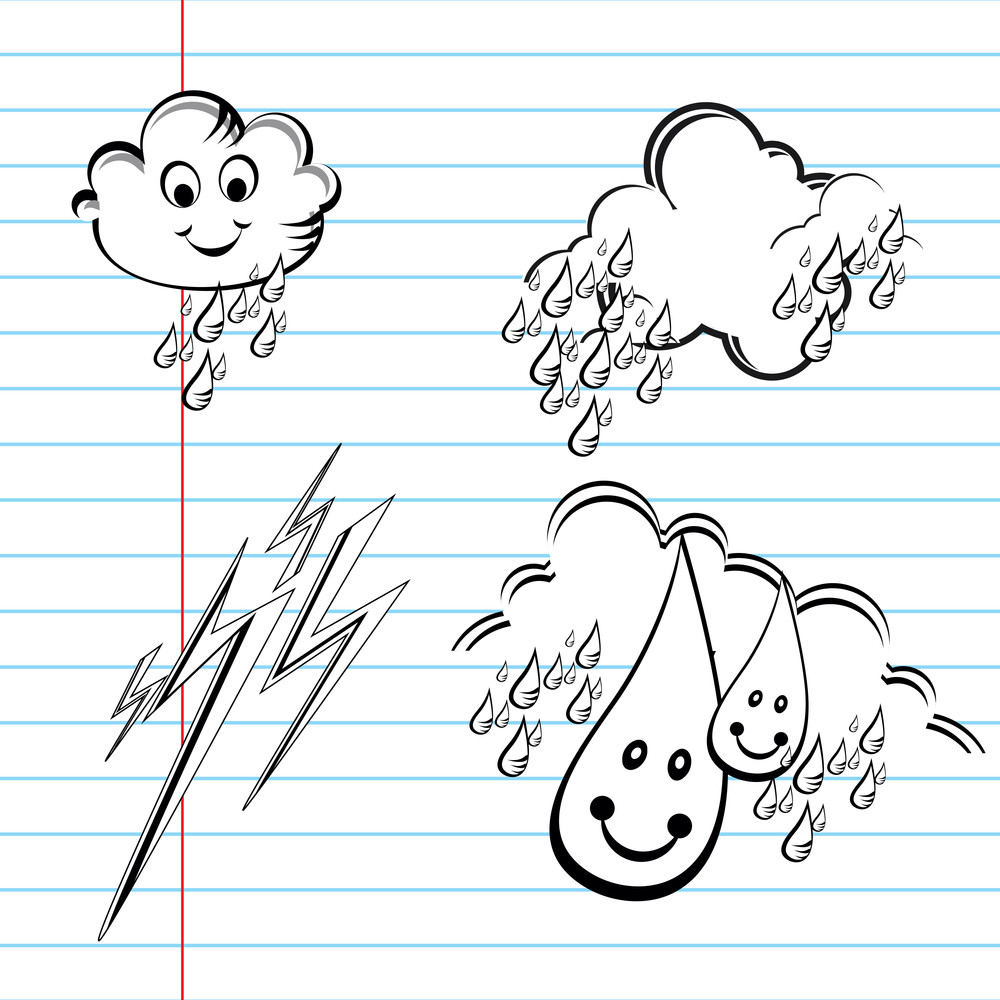 Set Of Weather Symbols Sketch. Vector Illustration Of Weather Icons..