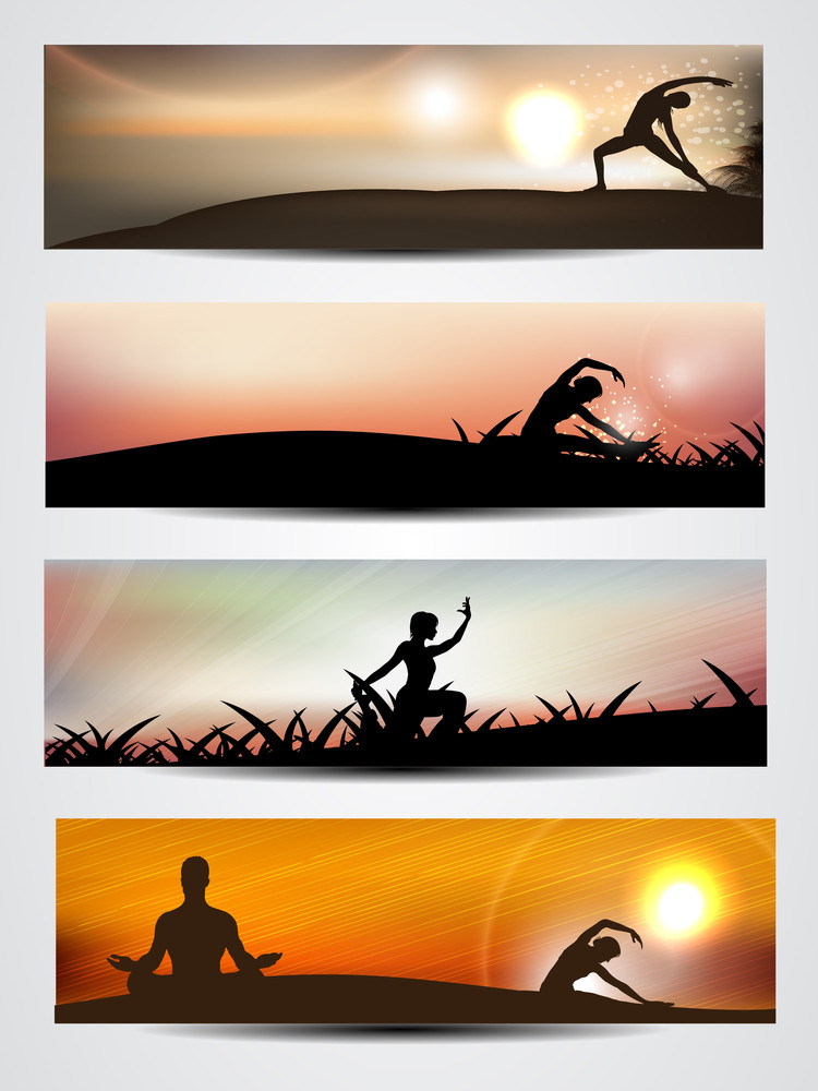 Set Of Website Banner Or Header Of Yoga Or Meditation 10 Royalty Free Stock Image Storyblocks