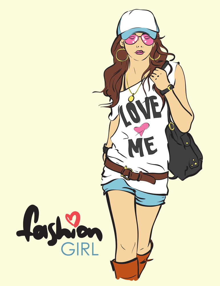 Sexy Fashion Girl In Sketch Style. Vector Illustration.