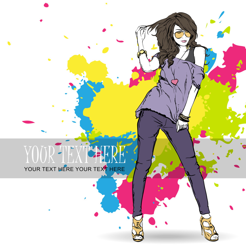Sexy Fashion Girl On A Grunge Background. Vector Illustrator.