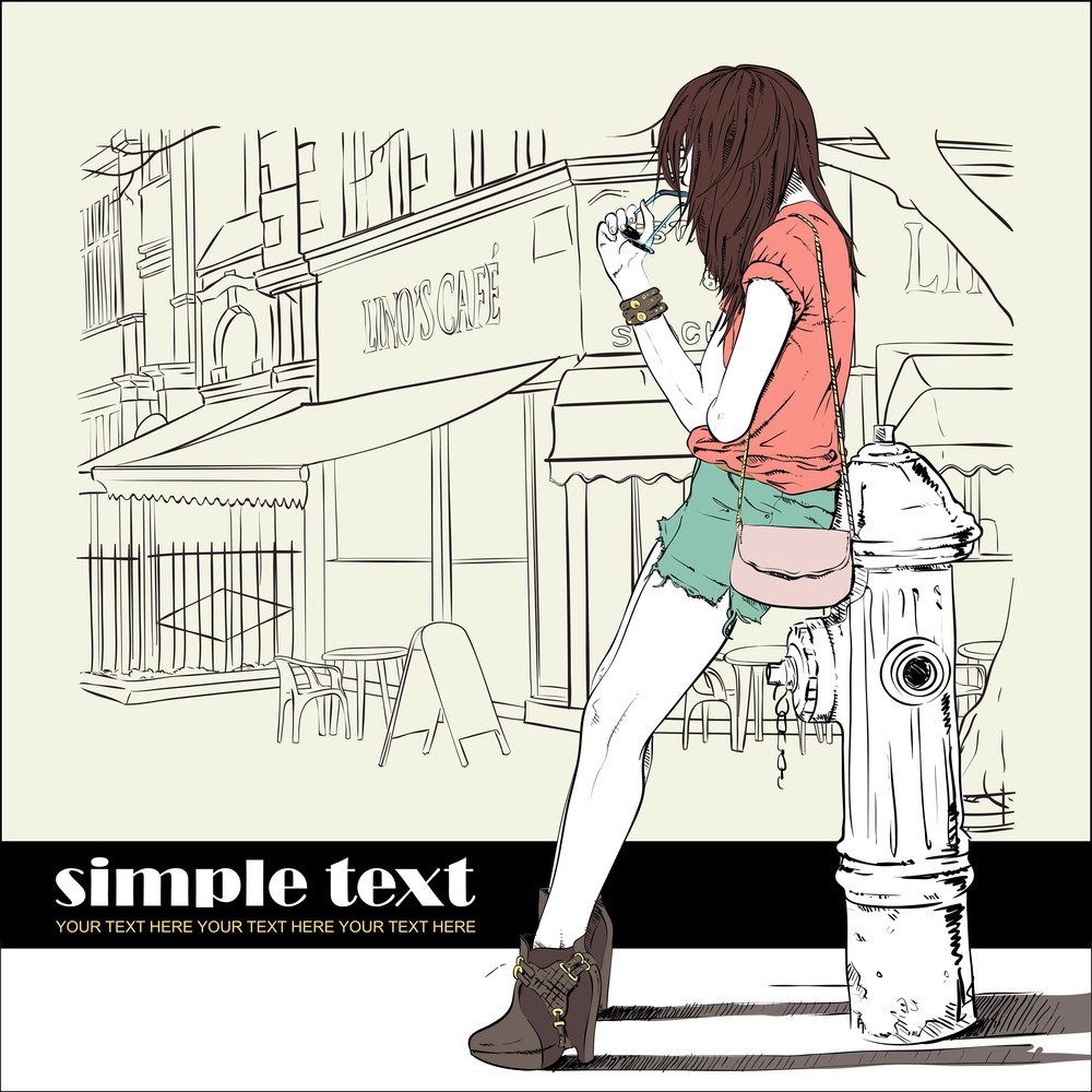Sexy Girl And Fire Hydrant In Sketch-style On A Street-cafe Background. Vector Illustration