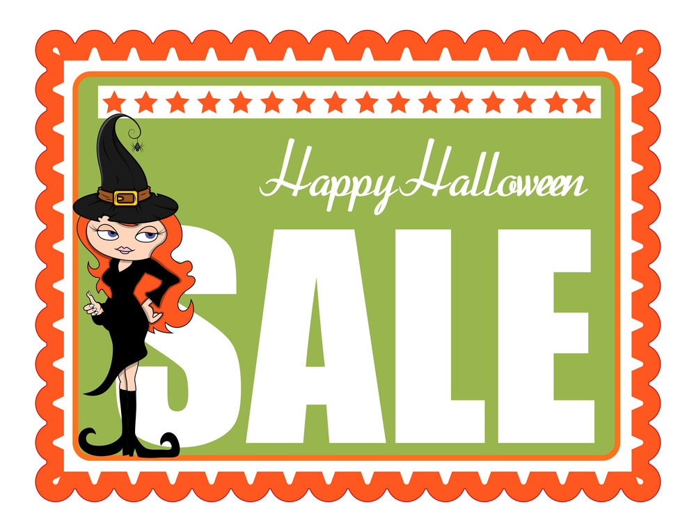Sexy Halloween Witch Girl Sale Banner