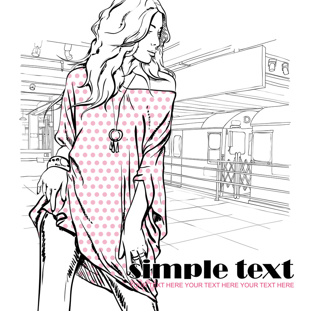 Sexy Summer Girl In Sketch-style On A Subway Station. Vector Illustration
