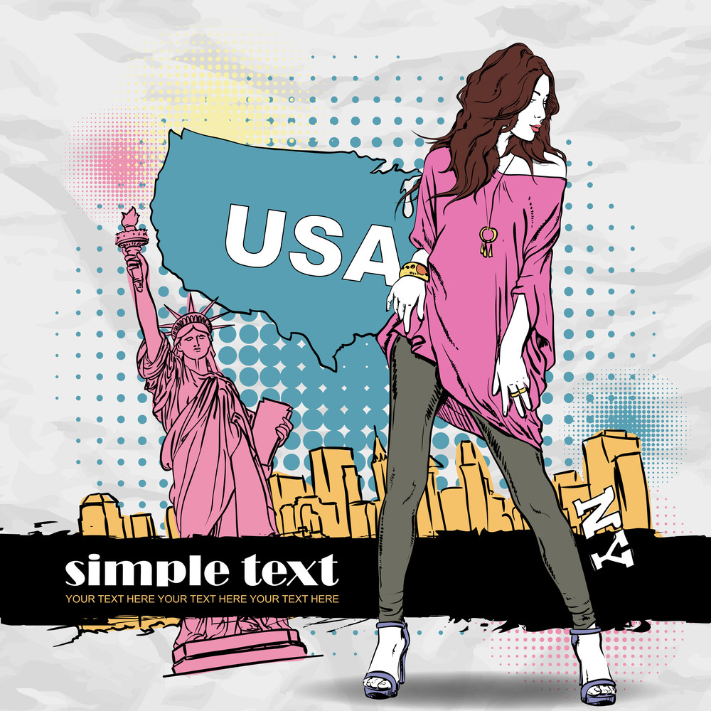 Sexy Summer Girl In Sketch-style On A Usa Background. Vector Illustration