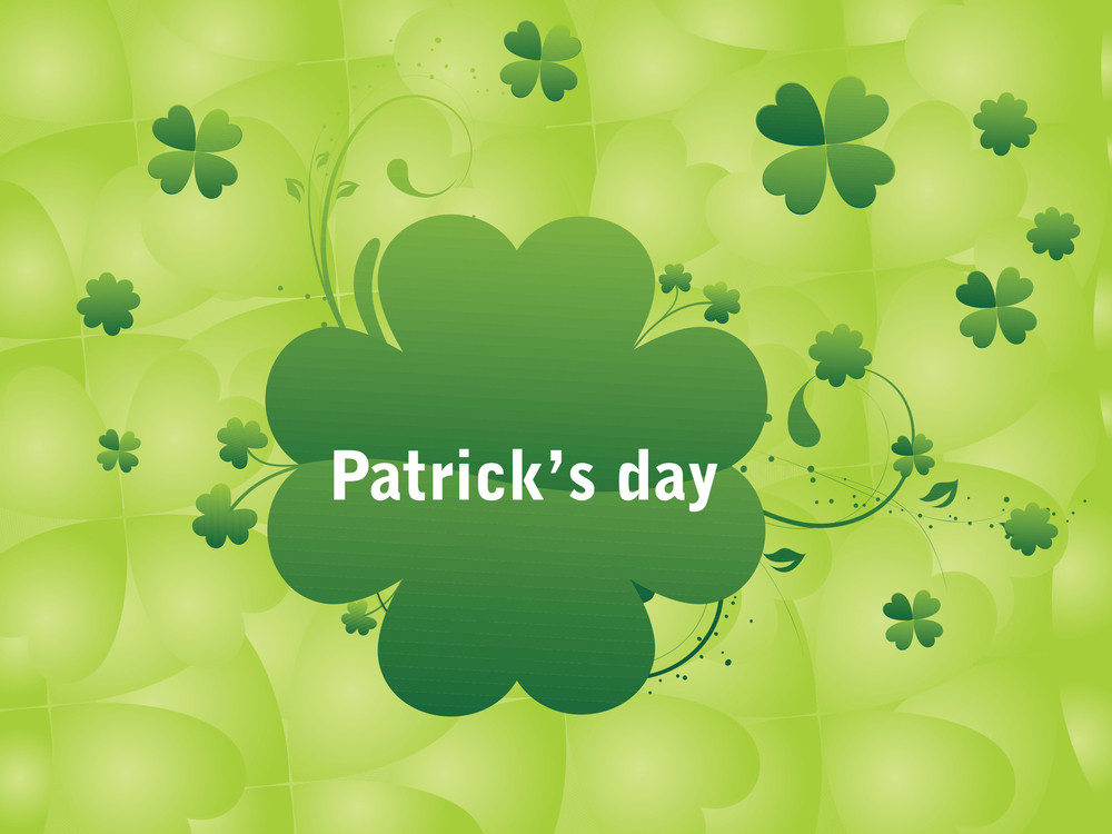 Shamrock Background With Patrick's Day Text 17 March