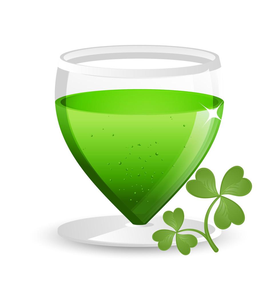 Shamrock Leaf With Drink Glass