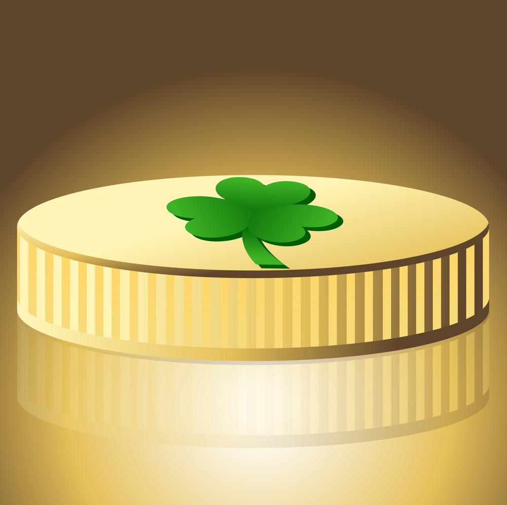 Shamrock Symbol Gold Coin