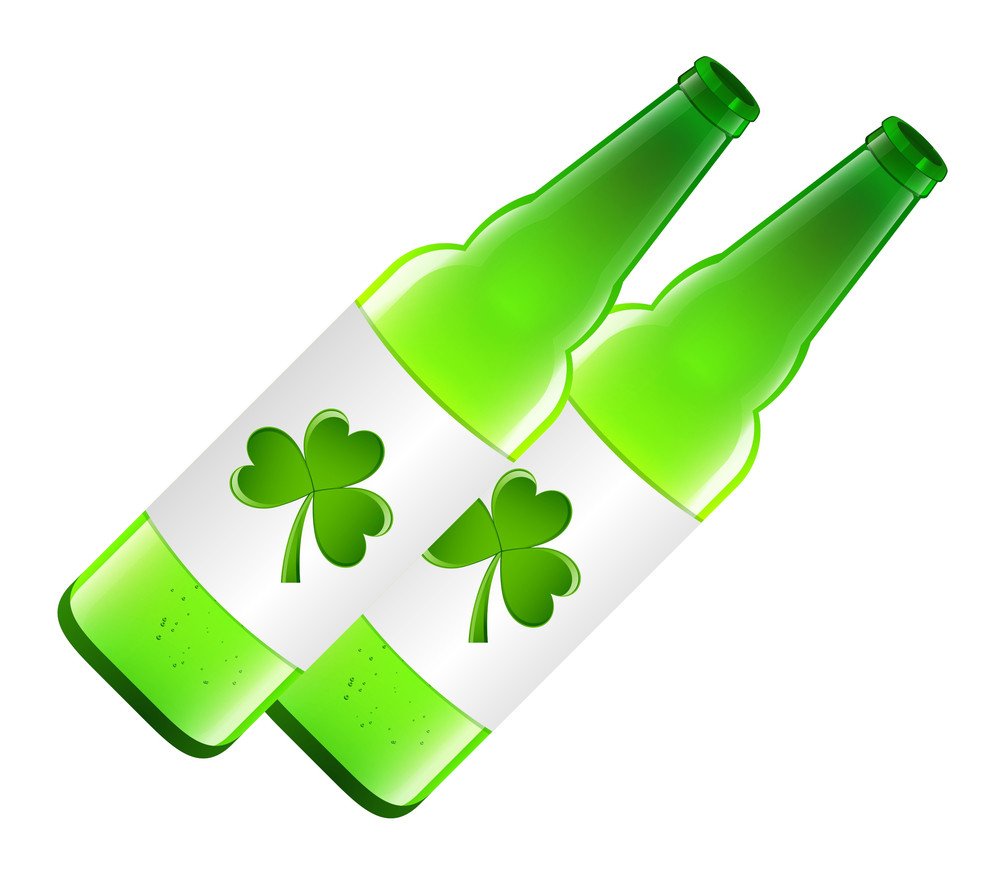 Shamrock With Beer Bottles