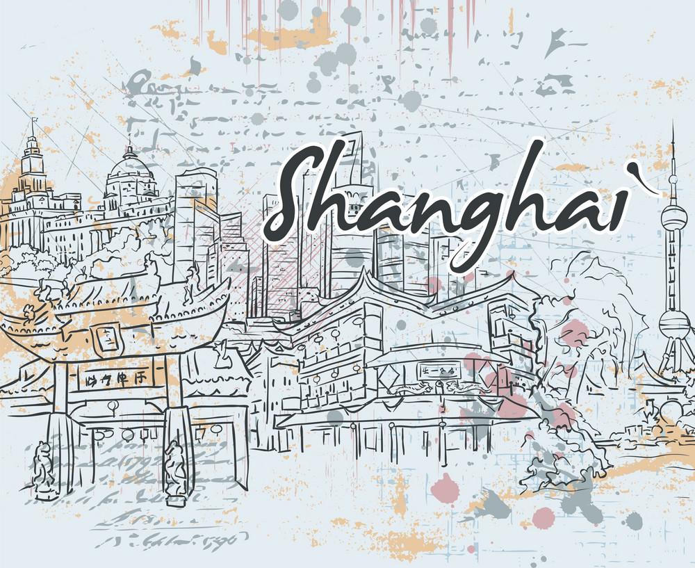 Shanghai Doodles Vector Illustration