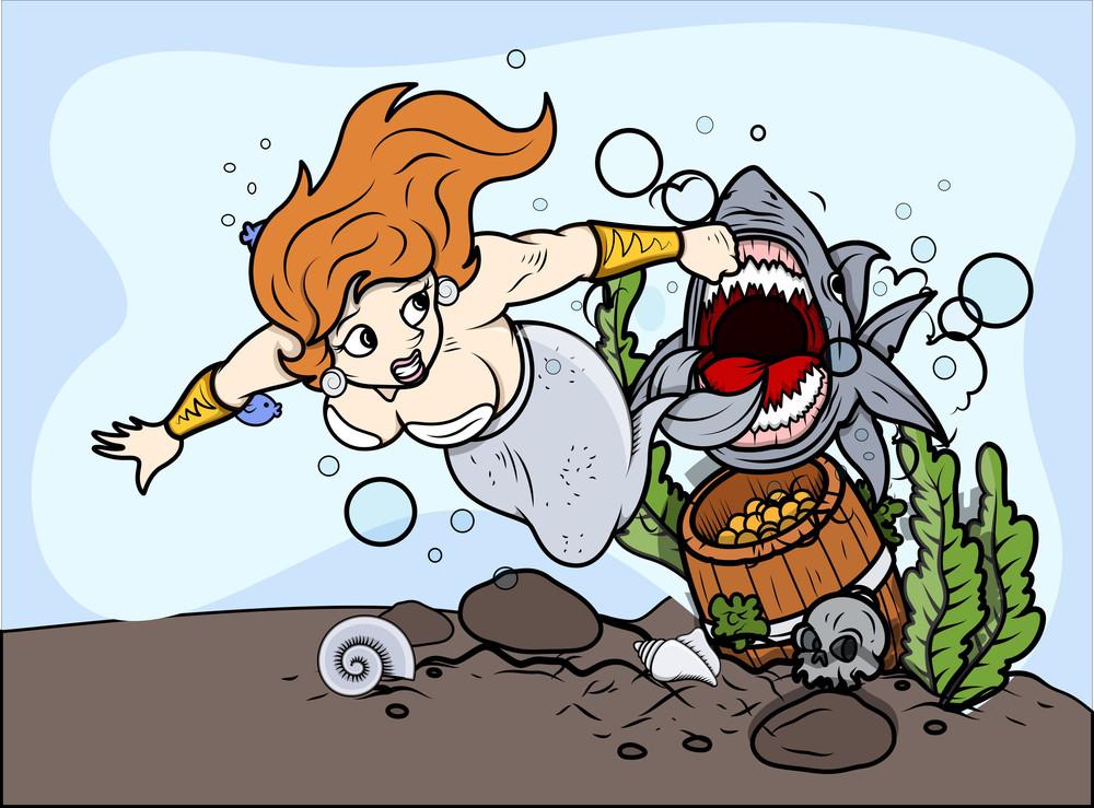 Shark Attack To The Mermaid - Vector Illustration