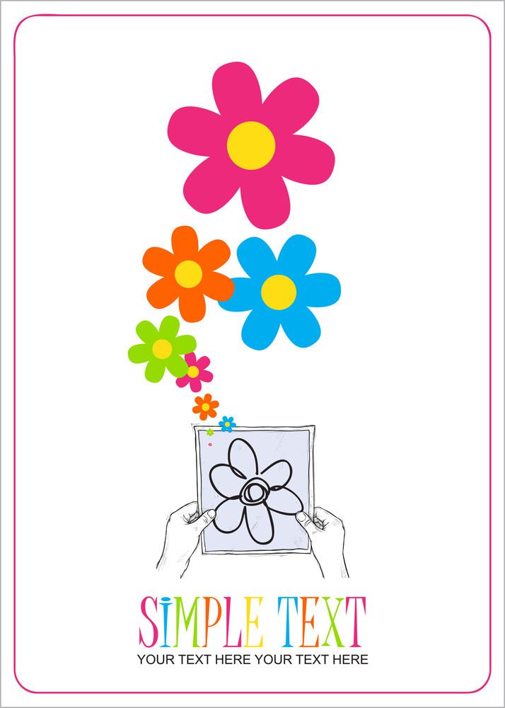 Sheet Of Paper In Hands And Flowers. Abstract Vector Illustration