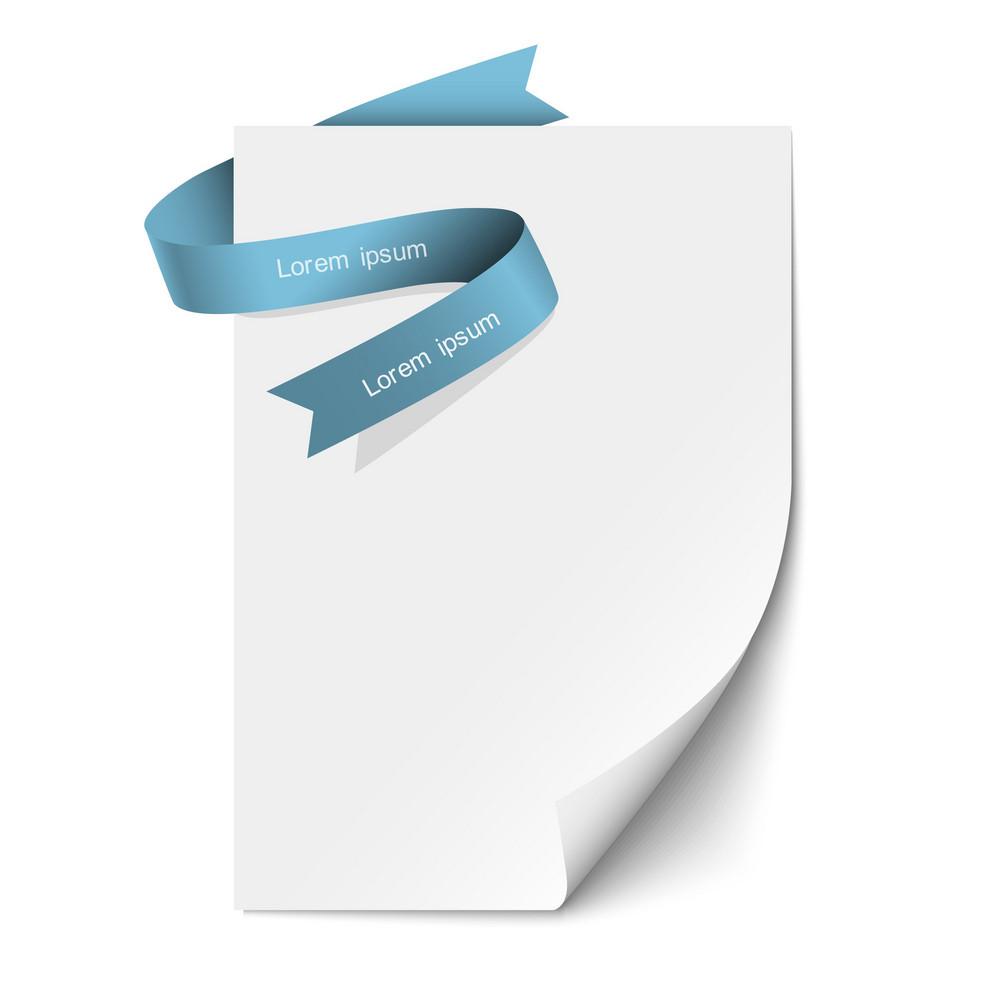 Sheet Paper And Blue Ribbon