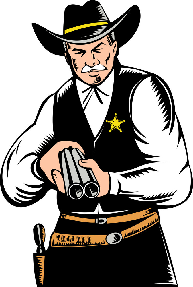 Sheriff Aiming Shotgun