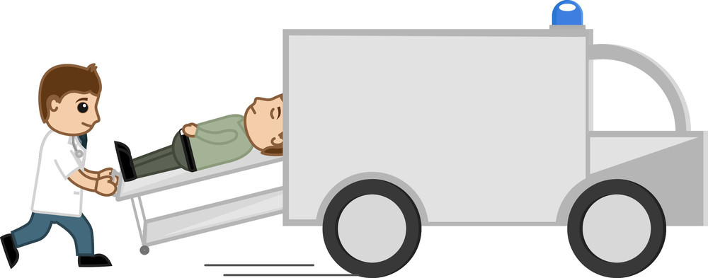 Shifting In Medical Van - Medical Cartoon Vector Character