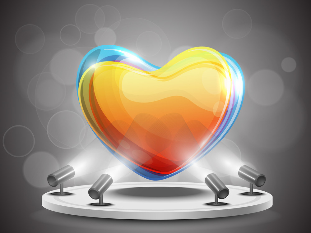 Shining Colorful Heart Presentation On Stand Banner Or Template Design. Eps 10