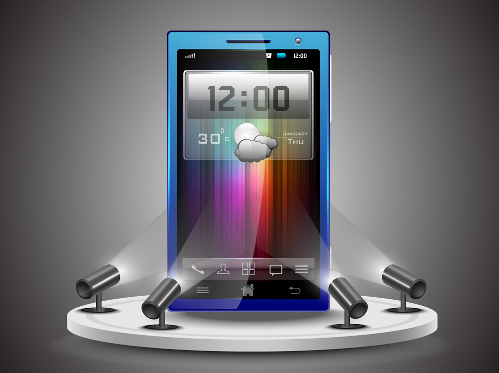 Shining Smartphone  Presentation On Stand Banner Or Template Design.