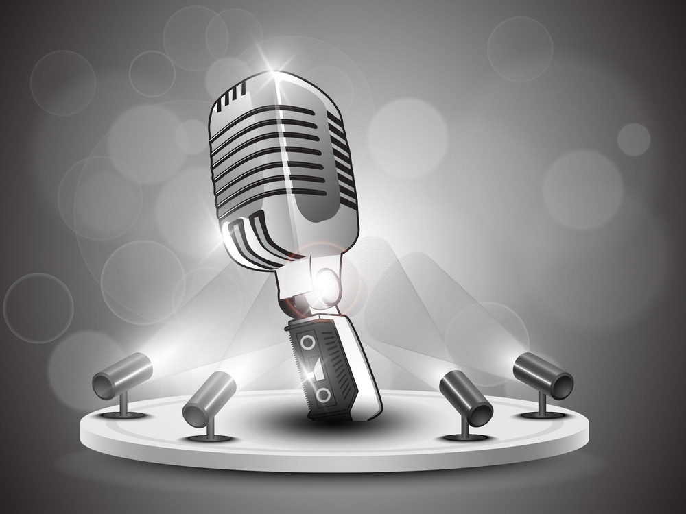 Shining Vintage Microphone Presentation On Stand Banner Or Template Design.