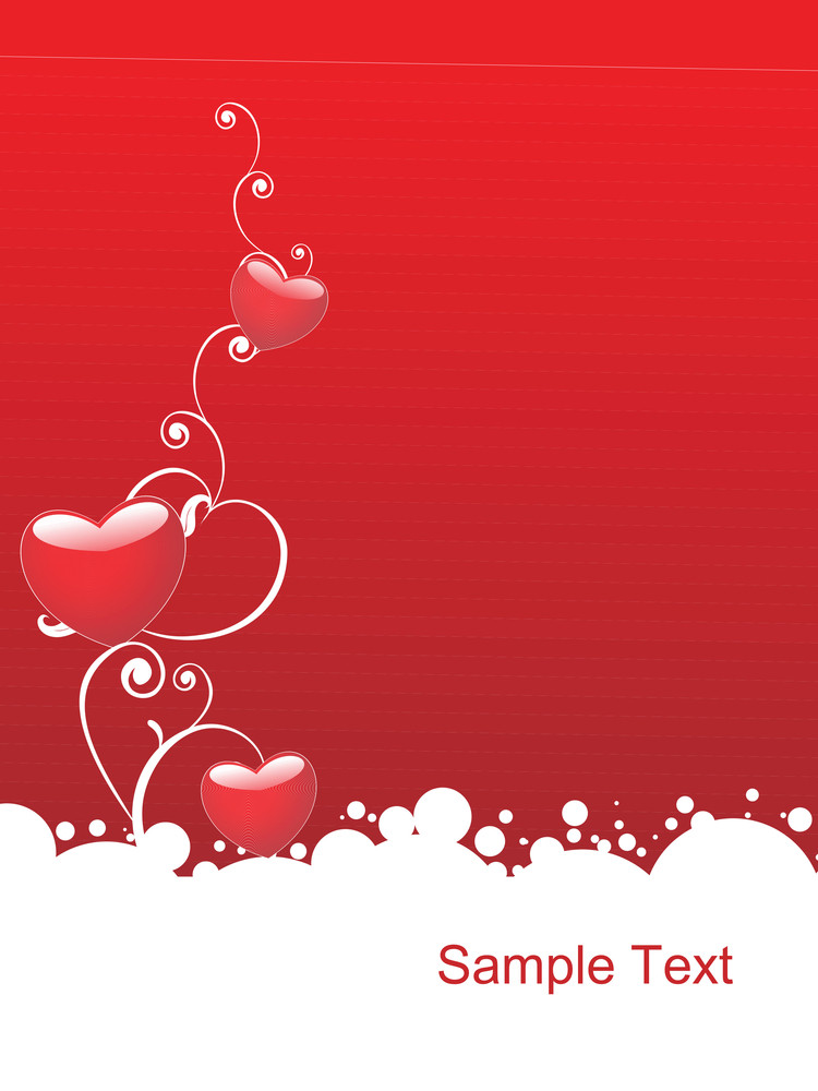Shinning Red Heart With Floral Elements