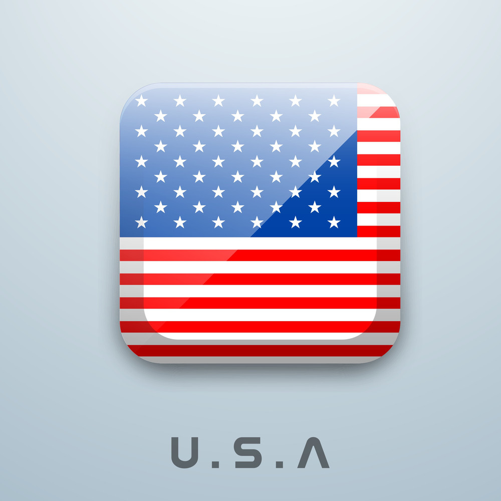 Shiny American Flag In Rectangle Shape With Text U.s.a