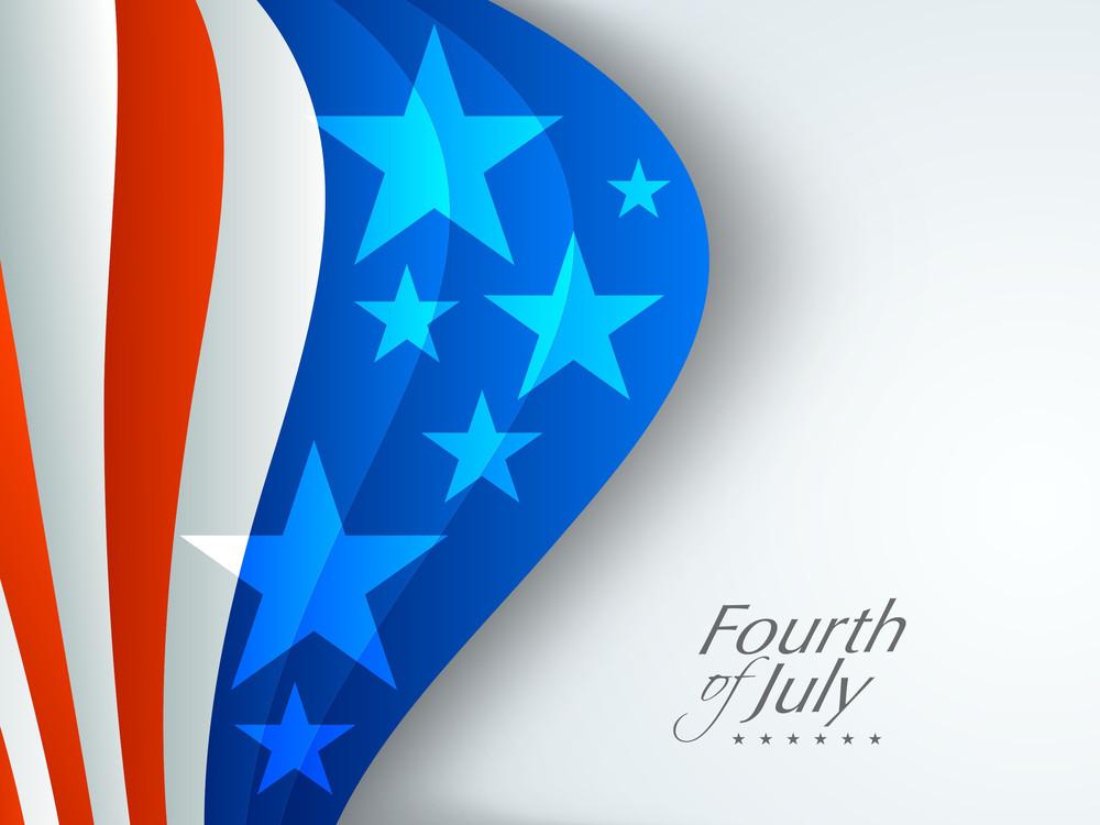 Shiny American Flag Waving On Grey Background