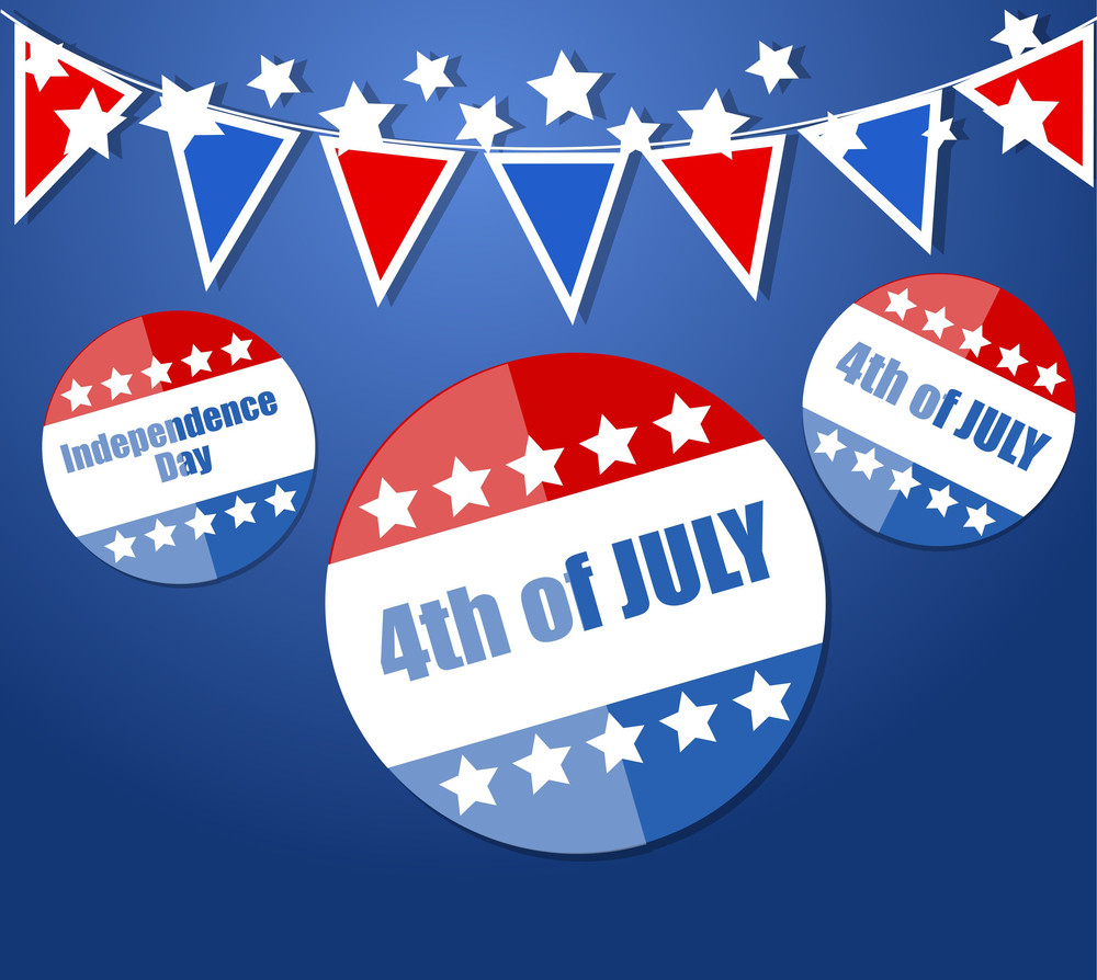 Shiny Badges Us 4th Of July Independence Day Vector Design