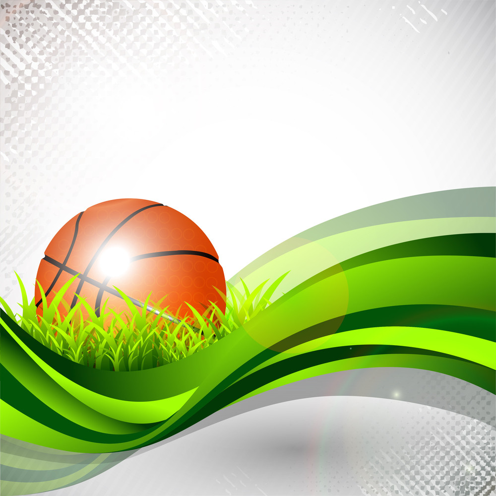 Shiny Basketball In Green Grass On Green Wave And Grungy Grey Abstract Background.