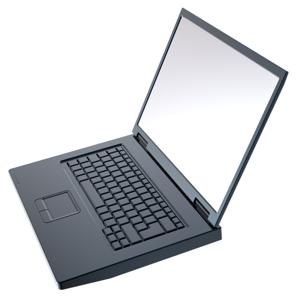 Shiny Black Laptop Isolated On White.