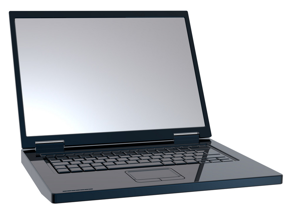 Shiny Black Laptop Isolated On White.