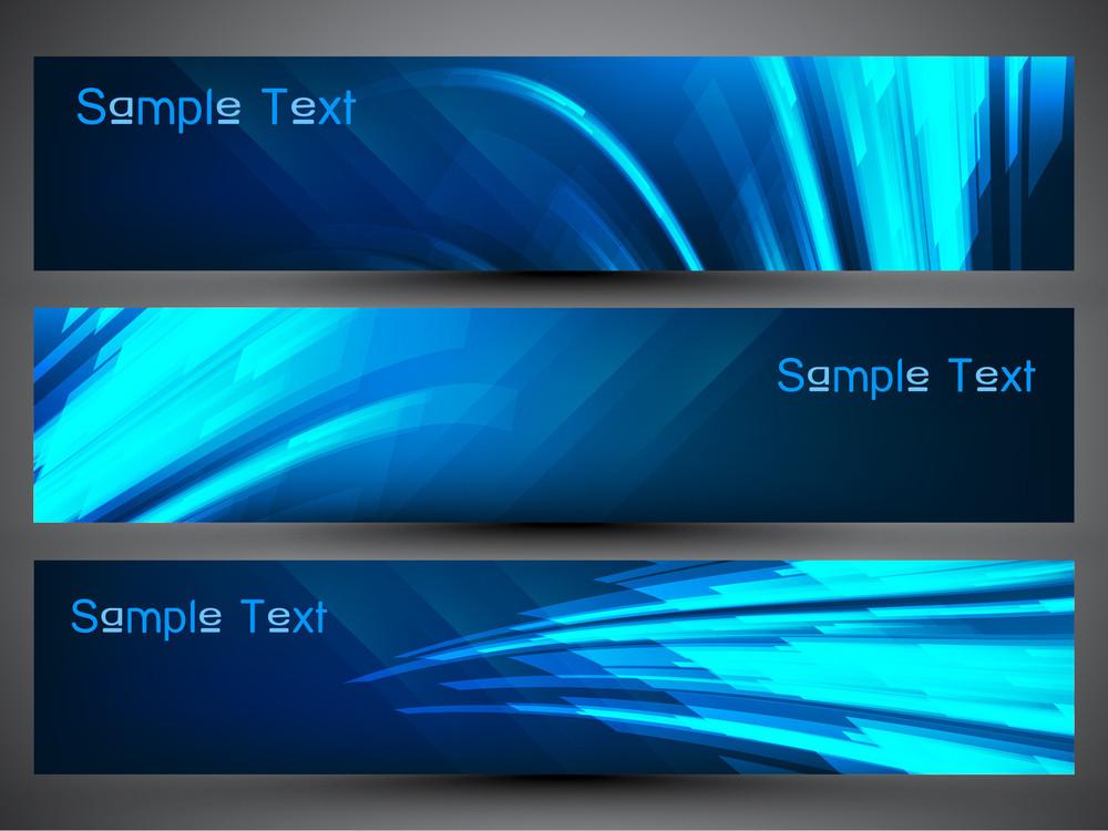 Shiny Blue Website Banner Or Header Set.