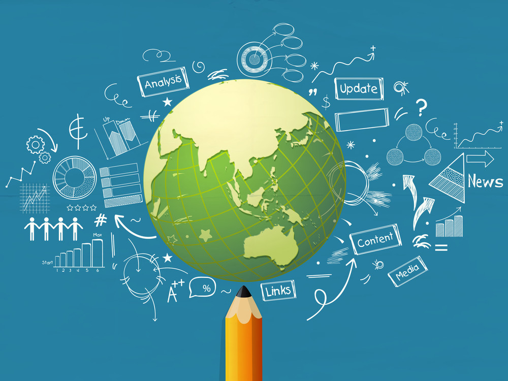 Shiny globe with pencil and various infographic elements on blue background for business reports and presentation.