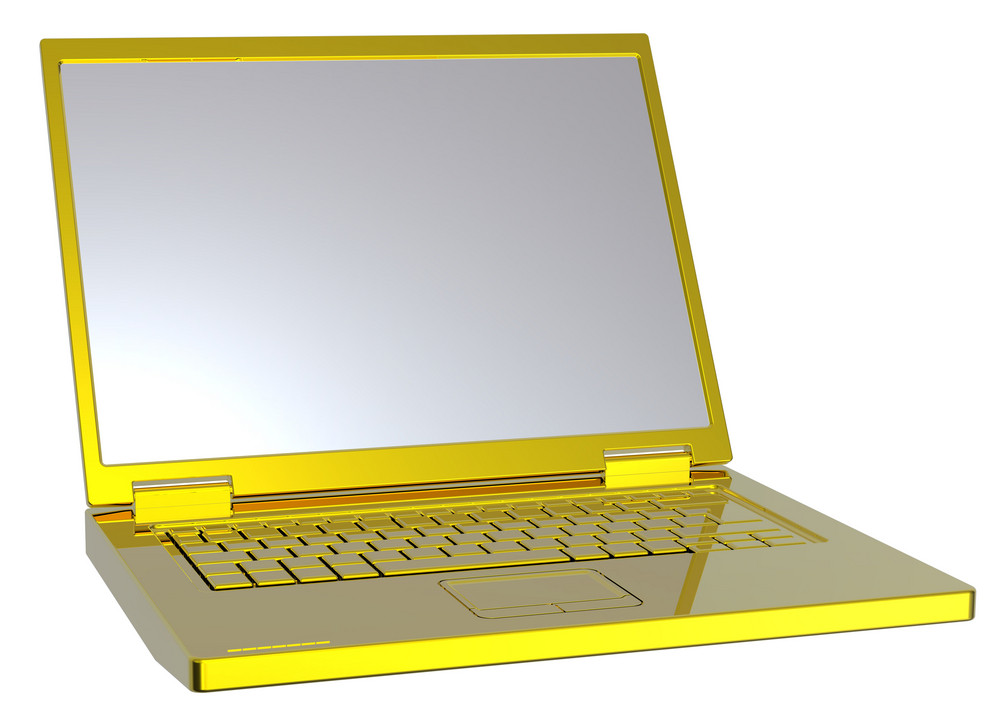 Shiny Gold Laptop Isolated On White.