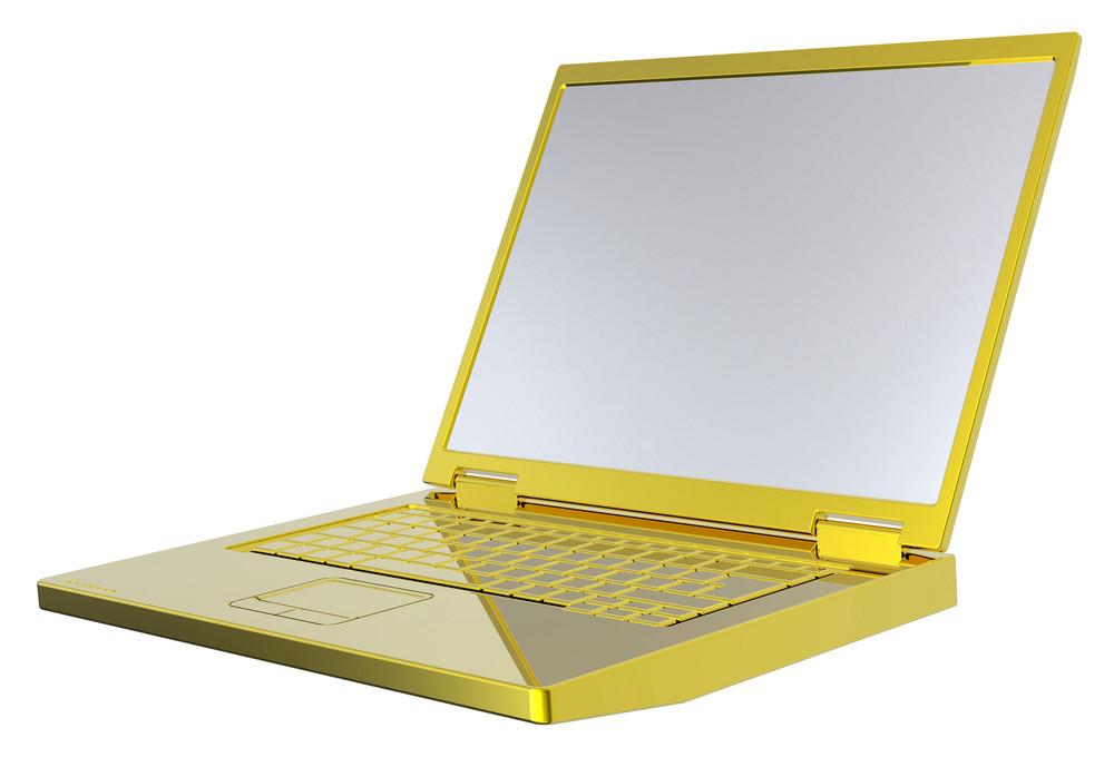Shiny Gold Laptop Isolated On White.
