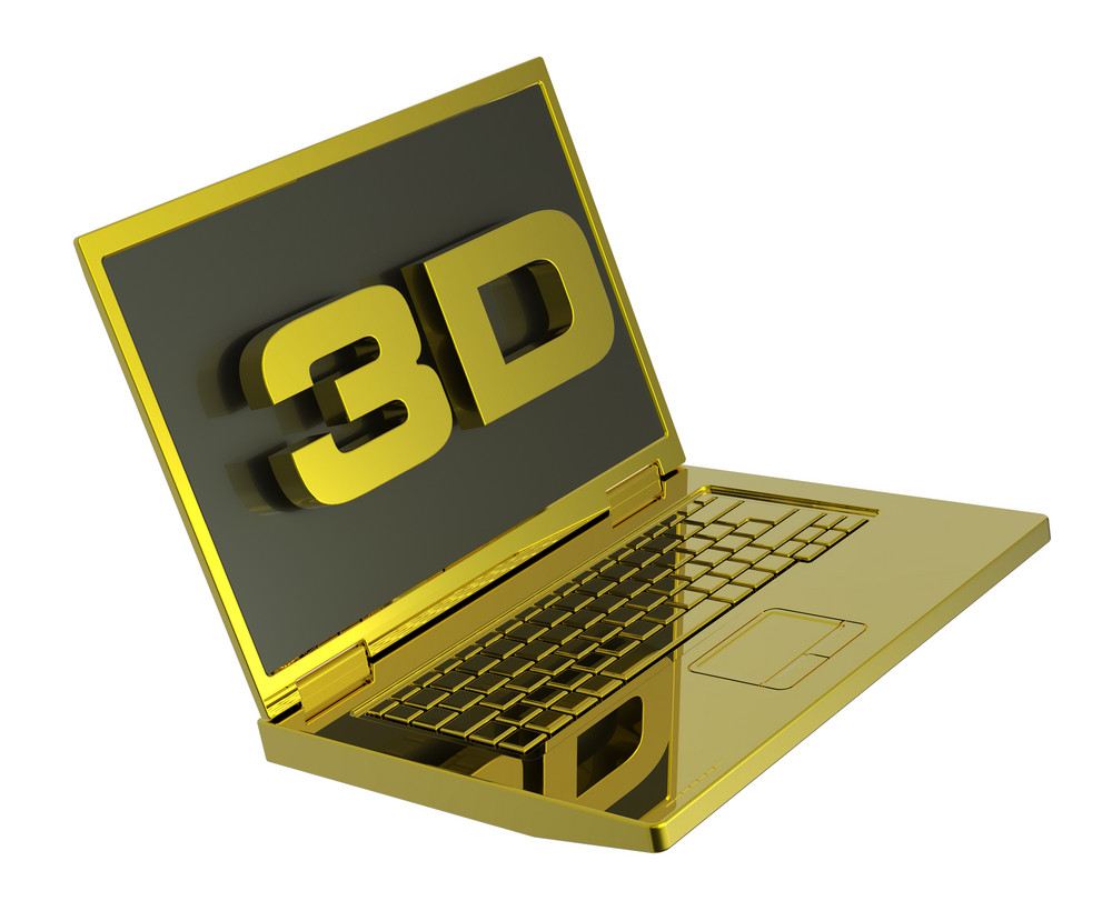 Shiny Gold Laptop With 3d Screen Isolated On White.