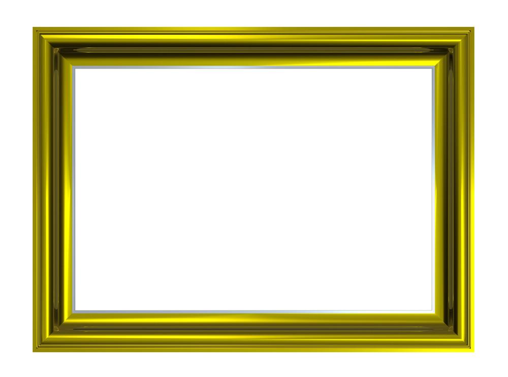 Shiny Gold Rectangular Frame Isolated On White Background.