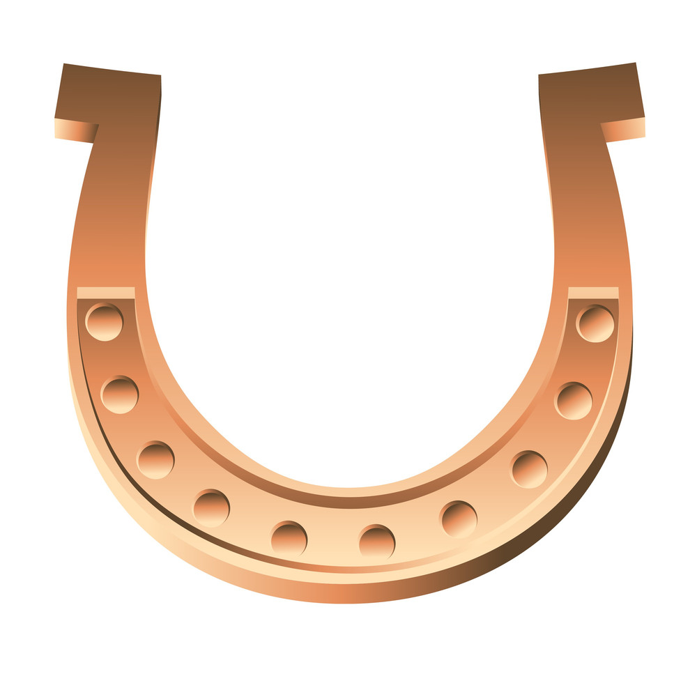 Shiny Golden Horseshoe Vector